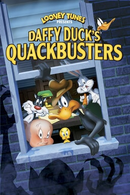 Daffy Duck's Quackbusters - Daffy wearing hat with Looney tunes peeking out the window