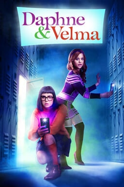 Daphne & Velma - Sarah Jeffery as Daphne and Sarah Gilman as Velma holding cellphone light amidst lockers in the dark