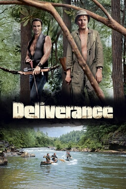 Deliverance - Jon Voight as Ed and Burt Reynolds as Lewis in the jungle holding gun/crossbow