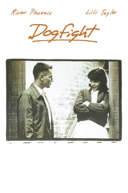 Dogfight - River Phoenix and Lili Taylor talking to each other as Taylor leans against a wall