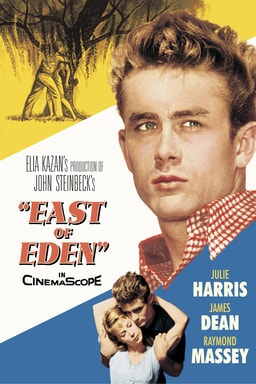 East of Eden - James Dean looking off into the right and corner yellow, corner right blue