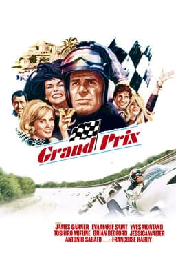 James Garner stars as a Grand Prix with collage of illustrated cast on top and James driving below