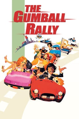The Gumball Rally - A train of cars in a cartoon with The Gumball Rally in red logo on top