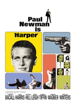 Harper - Paul Newman is 'Harper' - with collage pictures of gun, Paul and women