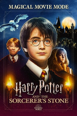 Harry Potter And The Sorcerer's Stone: Magical Movie Mode - Daniel Radcliffe looking with the cast