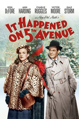 It Happened on 5th Avenue - Gale Strom and Don Defore glancing at each other by the pole on winter