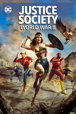 Justice Society: World War II - Wonder Woman reaching for her sword running with Flash and others