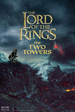 The Lord of the Rings: The Two Towers - Smeagol on rocks while Mount Doom erupts