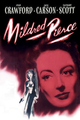 Mildred Pierce (1945) - Joan Crawford in red tint background and a lady illustrated holding a gun