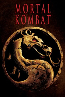 Mortal Kombat (1995) - Dragon made of golden stone carving with red gleaming eye behind red black background