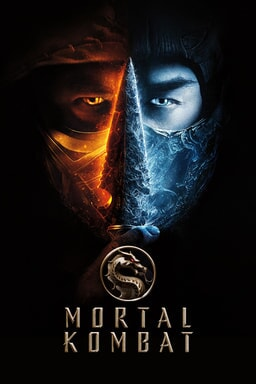 Mortal Kombat (2021) - Man with half face fire half face ice with a spear in the middle and logo