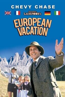 National Lampoon's European Vacation - Chevy Chase with Swiss Alps behind
