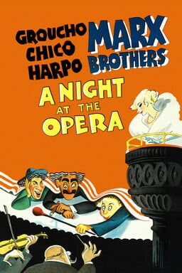 A Night At The Opera - Orange background illustration - Groucho, Chico, Harpo, Marx Brothers