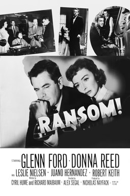 Ransom! - Donna Reed as Edith Stannard leaning on Glenn Ford as David Stannard with collage pictures