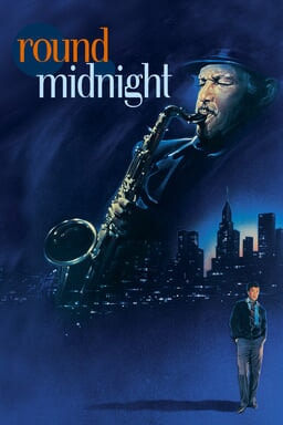 Round Midnight - Blue like midnight sky painting like with two pictures with man blowing sax