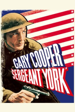 Sergeant York - Gary Cooper with American flag in artistic style and logo across