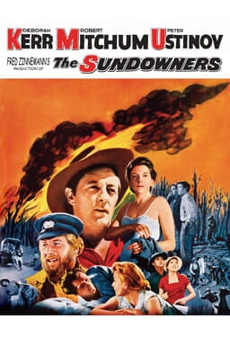 The Sundowners (1960) - Image of fire burning fuels with characters in the center on white background