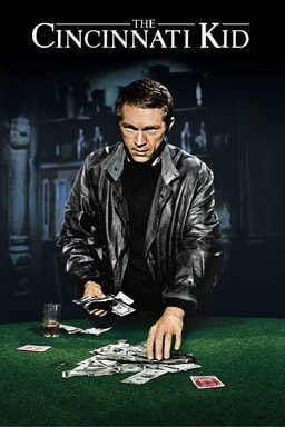 Steve McQueen as The Cincinnati Kid wearing a black leather jacket looking sinister with a deck of playing cards