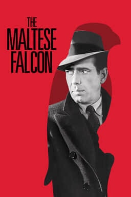The Maltese Falcon (1941) - Humphrey Bogart on red background and black lettered logo