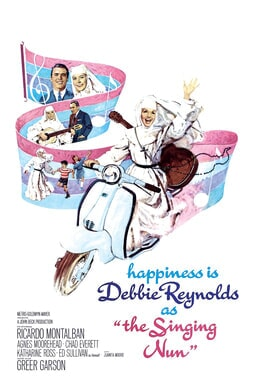 The Singing Nun - Debbie Reynolds on a white motorbike with a musical note trail behind