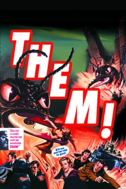 Them! (1954) - Bugs fill the green and red key art with comic like characters with speech bubbles