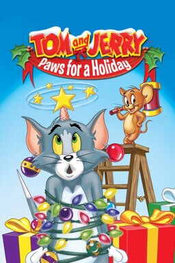 Tom and Jerry: Paws for a Holiday - Tom wrapped in Christmas lights as Jerry stands on ladder