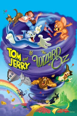 Tom and Jerry & The Wizard of Oz - Tom & Jerry spinning in a tornado blue purple with rainbow