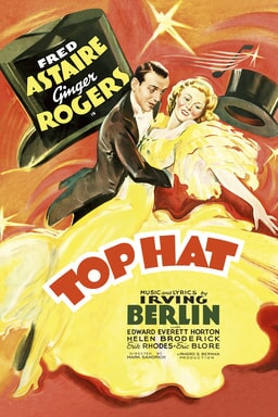 Top Hat (1935) - Fred Astaire and Ginger Rogers in yellow flowy dress with an orange background illustrated