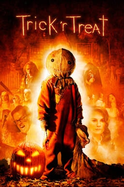 Trick 'r Treat - Kid with a scarecrow head with a fiery background and cast members blended