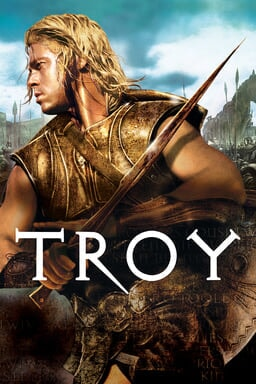 Troy - Brad Pitt in golden armor holding a sharp sword charging
