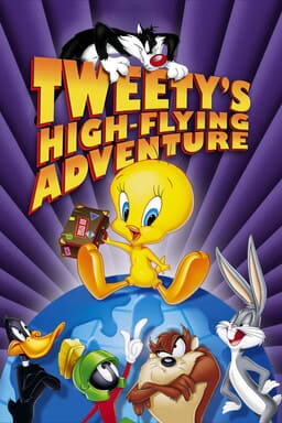 Tweety's High-Flying Adventure - Tweety on top of the world with Looney Tune cast below