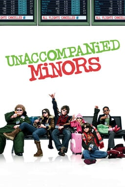 Unaccompanied Minors - Six kids sitting on an airport bench with sunglasses and luggage bags
