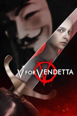 V for Vendetta - Masked phantom in the background with Natalie Portman reflection on sword and logo