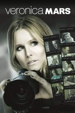 Veronica Mars - Kirsten Bell holding a DSLR camera with two photo strips of actors on the right