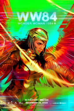 Wonder Woman 1984 - Wonder Woman in golden costumer holding lasso of truth and wings with green fuzz