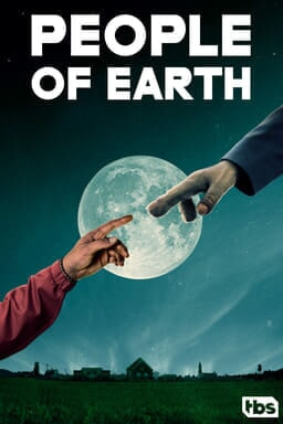 People of Earth poster: human finger and finger touching in front of a full moon