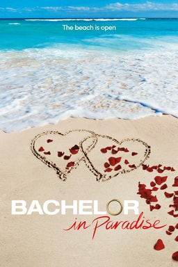 Bachelor in Paradise Season 4 poster: Ocean and beach with two intertwined hearts in the sand with trailing rose petals around it