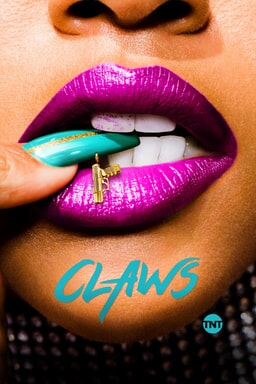 Close up of lips with manicured nail with nail art and Claws logo beneath