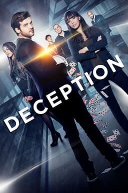 Cast of Deception with buildings from the ground-up perspective behind them