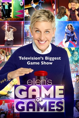 Ellen DeGeneres in front of a grid of gameshow players