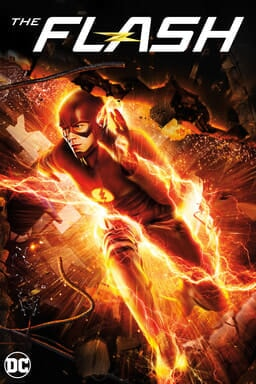 Grant Gustin as The Flash running through a brick wall surrounded by electric energy with The Flash logo above