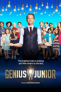 Host Neil Patrik Harris with group of kids behind him and Genius Junior logo at bottom