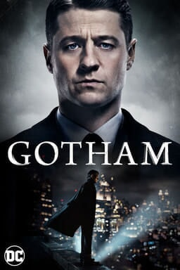 Ben McKenzie as James Gordon fading down to full shot standing on building with cityscape behind him. Gotham logo superimposed over both actors.