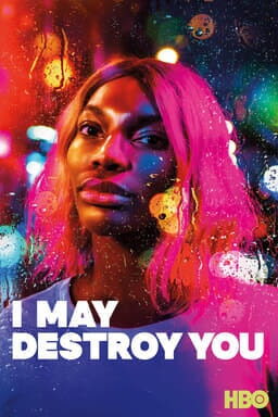 I May Destroy You: Season 1 - Michaela Coel as Arabella Essiedu in pink hair through rainy window