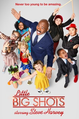 """Steve Harvey surrounded by kids with the tag line above """"Never too young to be amazing."""""""