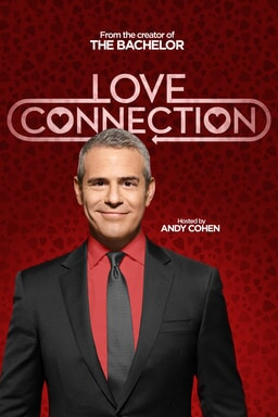 Love Connection poster with Andy Cohen as host and Love Connection logo behind him