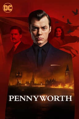 Pennyworth: Season 2 - Jack Bannon looking serious into camera with flag and red background mansion