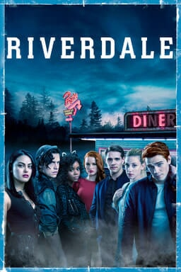Cast of Riverdale in front of diner with Riverdale logo above