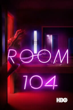 Room 104: Season 1 - Neon light room with reddish tinge with someone coming out of the door