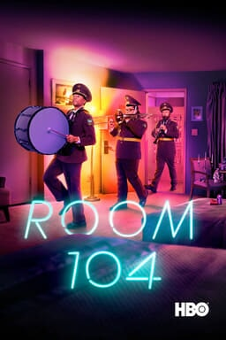 Room 104: Season 2 - Three cast members in marching band uniform in a line coming out from room